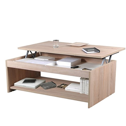 Weber Industries Oregon Table Basse 120x60, Chêne Blanchi, 120 x 60 x 43,5 cm