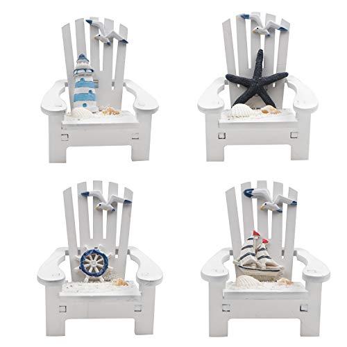 Jangostor 4 Pezzi Mini Sedia in Legno Ornamento Decorazioni da Spiaggia Decorazione Nautica per casa delle Bambole Scrivania da Ufficio Bagno Decorazione Camera da Letto, 10 x 9,5 x 9,5 CM