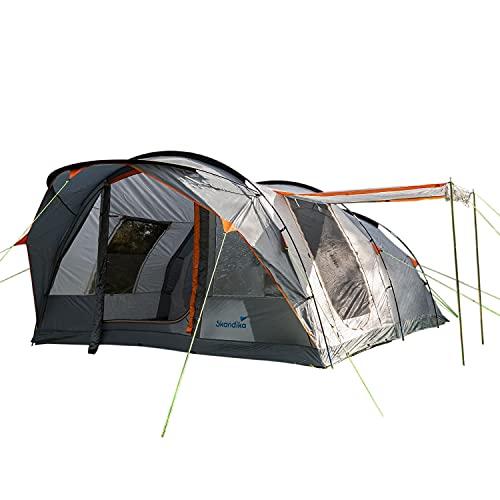 Skandika Egersund 7 Personen Tunnelzelt Camping Zelt mit 5000 mm Wassersäule, eingenähter Zeltboden, Moskitonetze, 2 überdachte Eingänge, Haken für Zeltlampe, Organizertaschen