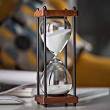 Large Hourglass Timer 60 Minute, Decorative Wooden Sandglass, White