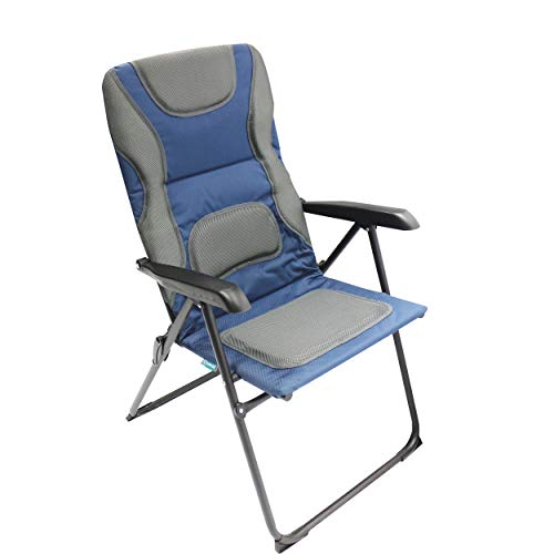 Homecall Folding garden camping chair steel Rip-Stop polyester/mesh padded backrest adjustable blue/grey