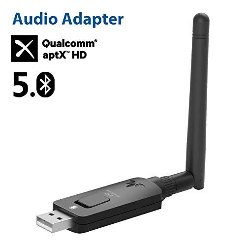 Avantree DG60 Bluetooth aptX-HD a Lunga Portata 50M USB 5.0 Trasmettitore Adattatore Audio per PC PS4 Mac Computer, chiavetta wireless aptX a bassa latenza per cuffie, altoparlanti