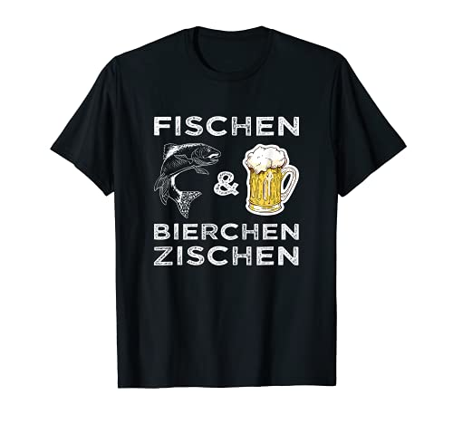 Lustiges Angler Fischen und Bierchen zischen Angeln Bier T-Shirt
