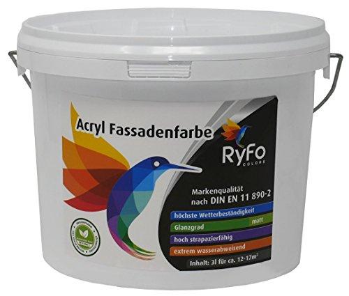 RyFo Colors Acryl Fassadenfarbe 3l (Größe wählbar) - weiße Außen-Farbe-Dispersion, Reinacrylat Basis, wasserabweisend, hohe Deckkraft, höchster Wetterschutz, lösemittelfrei
