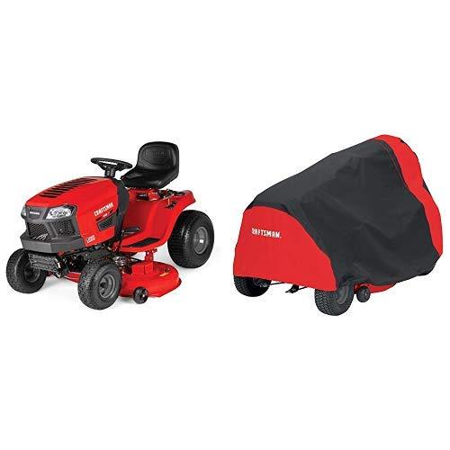 Craftsman T135 18.5 HP Briggs & Stratton 46-Inch Gas Powered Riding Lawn Mower With Craftsman Riding Lawn Mower Cover, Medium