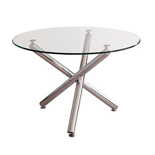 Mesa de Comedor Redonda Brisa sobre de Cristal Templado Transparente y Base de Metal Pulido Acabado Brillo de 110 cm
