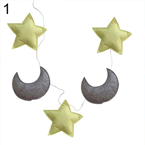 MG554zy0 150cm Lovely Star Moon Wall Hanging Ornament Garland Kids Room Nursery Decor 150cm Lovely Star Moon Wall Hanging Ornament Garland 1#