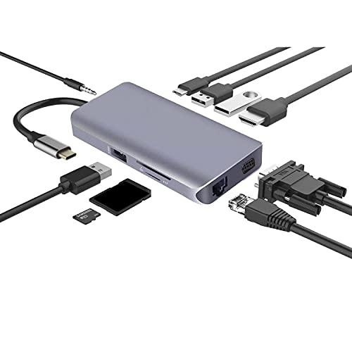 GEQWE Concentrador USB C, Estación De Acoplamiento 10 En 1 con HDMI 4K, 3 Puertos USB, Carga PD De 100 W, Ethernet RJ45, Lector De Tarjetas SD/TF, Conector De Audio De 3,5 Mm para Macbook/Pro