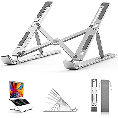 "BoYata Laptop Stand, 6 Levels of Height Adjustable Portable Laptop Holder for Desk, Aluminum Foldable Laptop Riser, Compatible with MacBook Air/Pro, Dell, HP, Lenovo, Most 10-15.6"" Laptops"