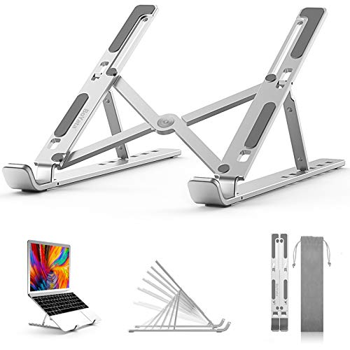 "BoYata Laptop Stand, 6 Levels of Height Adjustable Portable Laptop Holder for Desk, Aluminum Foldable Laptop Riser, Compatible with MacBook Air/Pro, Dell, HP, Lenovo, Most 10-14.8"" Laptops"
