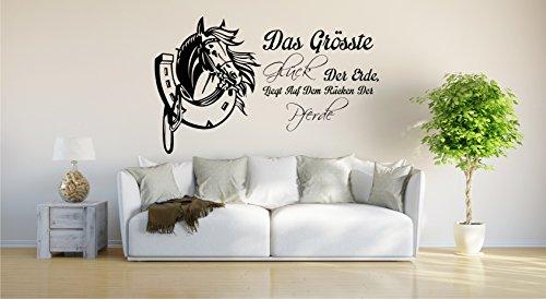INDIGOS UG - Wandtattoo Wandsticker Wandaufkleber Aufkleber - Wandaufkleber Das größte Glück der Erde liegt auf dem Rücken der Pferde - 120cm x 89cm schwarz E934