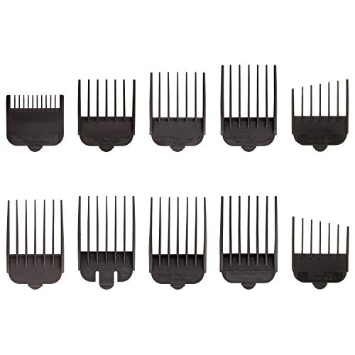 Wahl Professional Animal Attachment Guide Comb 10 Pack Grooming Set for Wahl's Show Pro Plus, Iron Horse, Pro Ion, U-Clip, Deluxe U-Clip Pet, Dog, Cat, Horse Clippers (#3173-500), Black