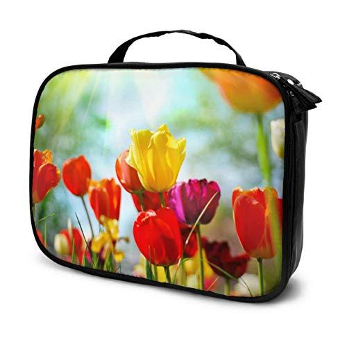 Beau Bouquet De Tulipes Voyage Cosmétique Sac De Rangement Cosmétique Sacs pour Femmes Maquillage Sac Gym Multifonction Imprimé Poche pour Les Femmes