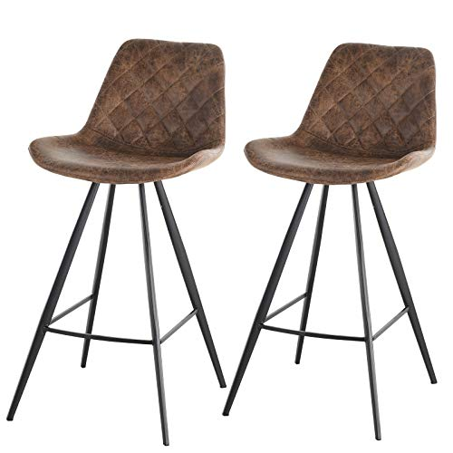 HOMCOM Set Of 2 Bar Stools Vintage Microfiber Cloth Tub Seats Padded Comfortable Steel Frame Footrest Quilted Home Business Bar Cafe Kitchen Chair Stylish Brown