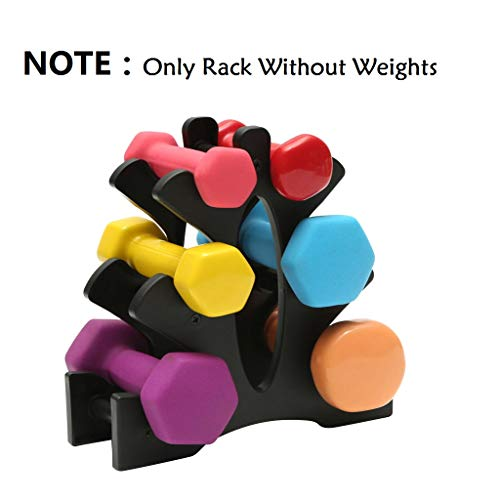 Polwer Dumbbell Rack Stand 3 Tier Dumbbells Storage Rack Compact Dumbbell Bracket Free Weight Stand for Home Gym Organization Holds 30 Pounds A