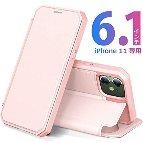 iPhone 11 ケース 手帳型 6.1インチ アイフォン 11 カバー PUレザー スタンド マグネット機能 カード収納 ワイヤレス充電対応 スマホケース 放熱性抜群 衝撃吸収 全面保護カバー(ピンク)