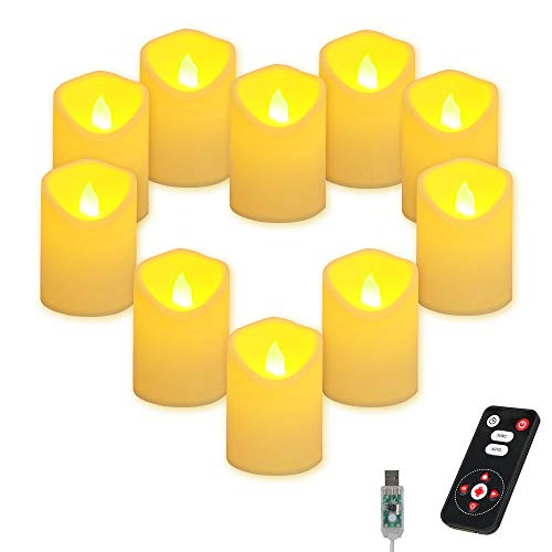 AKNMSOY Realistic and Bright Flickering LED Flameless Candles with Remote Timer, 10 Bulb Light, USB Plug LED Tea Light for...