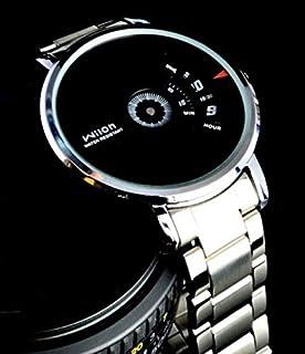 ساعة ويلون Wilon الرجالية (رسمية ، مينا اسود و شريط فضي)