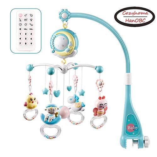 Mobile pour lit de bébé musical avec lumières et musique, support, lit de bébé musical rotatif avec projecteur, hochets suspendus et boîte à musique avec...