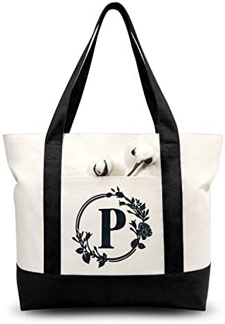 TOPDesign Stylish Personalized Embroidery Initial Canvas Tote Bag Suitable for Weddings Birthday product image