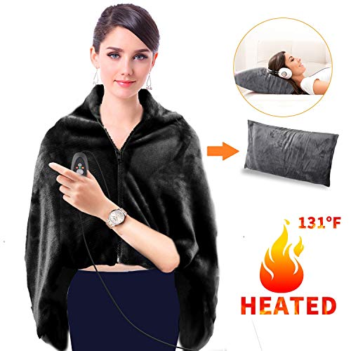 GMAYOO USB Heated Warm Shawl, Electric Heated Plush Throw...