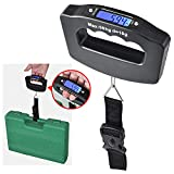 Portable Digital Luggage Scale, Suitcase Hanging Weighing Electronic Travel Scale with Hook - 110 Pound/ 50 Kilogram (Black - Digital Luggage Scale)