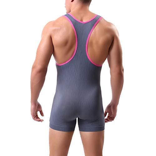 ZAYZ Ropa Interior Bóxer Leotardo para Hombre Body de Una Pieza con Camiseta de Lucha Libre, Mono con Suspensorio de Tacto Suave Mejora La Definición Muscular (Color : Gray, Size : X-Large)