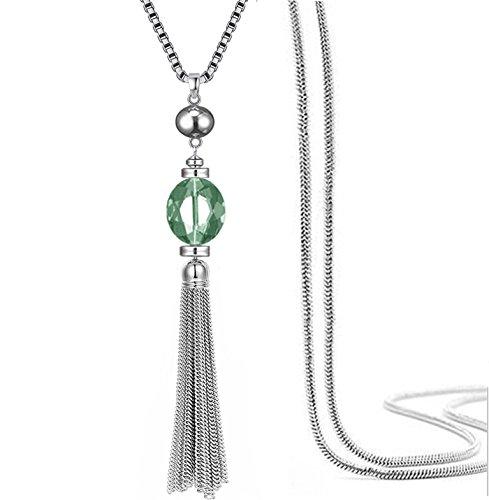 Quasten lange Pullover Kette Anhänger Halskette transparenter Kristall Bohème-Stil für Frauen (Grüne)