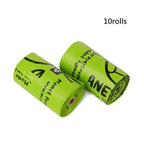 Lulunake Bolsas para excrementos de Perro Bolsa de Basura portátil para Mascotas con protección Ambiental degradable Verde,01