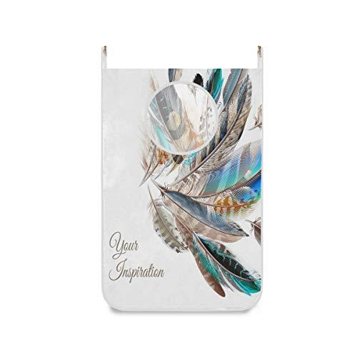 Bolsa de lavandería para colgar con plumas, color azul, blanco y marrón