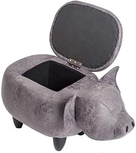 JUIO Otomana de Almacenamiento Escabel, tapizado de Cuero de imitación de Ride-on Cerdo Animal de reposapiés de Madera Maciza Sofá Pies de heces for el Cabrito (Color : B)