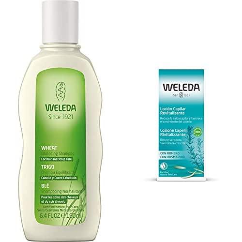 WELEDA Champú Equilibrante con Trigo (1x 190 ml) + Loción Capilar Revitalizante con Romero