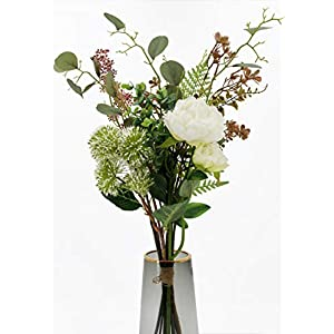 Artificial Silk Eucalyptus Leaves Artificial Silk Peony Flowers Match with Berries (1 Bouquet, Spring White)