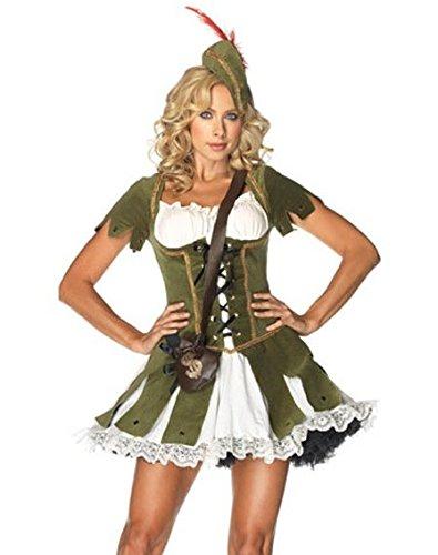 Costume da Robin Hood, firmato Emma's Wardrbobe – Include Abito verde, Cappello con piuma – Costume Robin Hood, Costume Peter Pan, Costume Elfo, per Halloween o addii al nubilato – Taglie EUR 36-42
