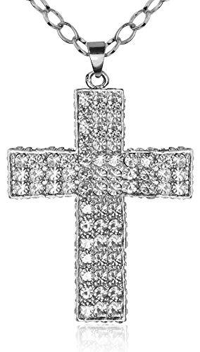 Das Kostmland Princesa - Collar con colgante de cruz con brillantes (3 filas), color plateado