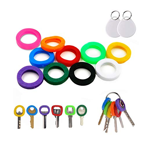 InterUS Key Caps Covers Tags 30 Pcs Key Cap Sleeve Rings Key Identifier Rings Label ID Perfect Coding System to Identify Your Key in 10 Different Colors