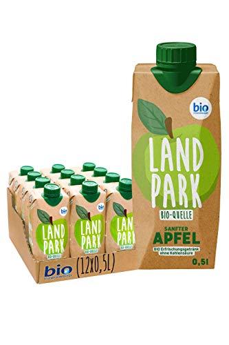 Landpark Bio-Erfrischungsgetränk Sanfter Apfel, 12 x 0,5 L im Tetra Pak | natürliches Mineralwasser aus Bio-Quelle mit Apfelgeschmack | ohne Kohlensäure | To Go | Wasser mit Geschmack | pfandfrei