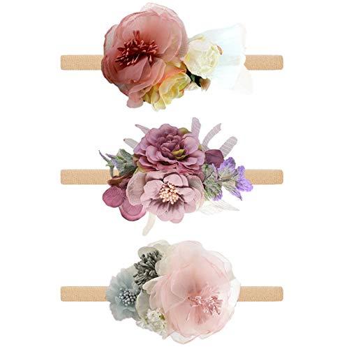 TBoxBo 3 diademas para bebé y niña, con flores, para fotografía de bebé, diademas elásticas de nailon para recién nacidos, para niños y niñas