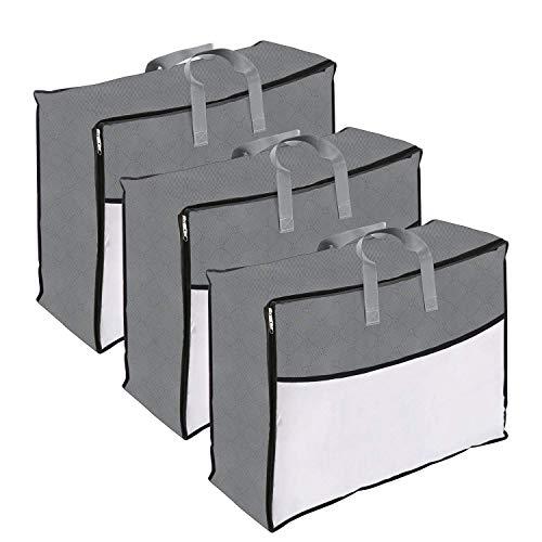 DIMJ 3 Stück Aufbewahrungstasche mit Reißverschluss und Griffe,für Bettwäsche,Bettdecken, Kissen,Einer Decke,Kleidung,Organisator-Beutel für Saisonartikel (Grau)