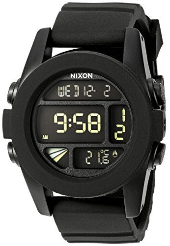 Nixon Unit A197000-00. Black Men's Digital Watch. (44mm. Digital LCD Watch Face. 24mm Black Band)