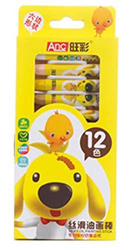 Children Kids Crayon Set, Silky Oil Hexagon Painting Sticks Non-Toxic Set of 12/18/24 Colors (12)