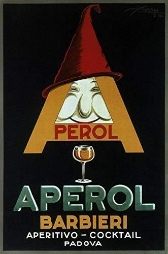Fleeting Art Studio Perol Aperol Barbieri 1924 - Placa de metal pintada de Italia retro de metal de aluminio para decoración de pared con aspecto vintage, para garajes, 20 x 30 cm