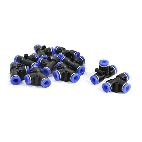 sourcingmap® 10 Stück schwarz blau gleich 6mm gemeinsame 3 fach T förmig pneumatische Push I