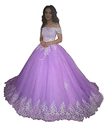 Monalia Women Off Shoulder Long Wedding Dresses Lace Applique Bridal Pagent Gown (Lavender,US2)