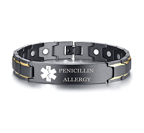 XUANPAI PENICILLIN Allergy Stainless Steel Magnet Therapy Medical Alert ID Bracelet for Men Women,Adjustable