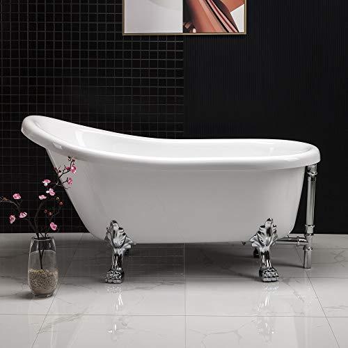 "WOODBRIDGE 59""x 30"" Slipper Bathtub with Solid Brass Polished Chrome Finish Drain and Overflow, BTA1522,White, clawfoot B-0022"