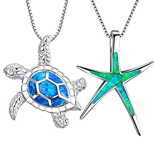 Winwinfly Cute Sea Turtle Starfish Pendant Necklace Set Blue Opal Sea Turtle Necklace Green Opal Starfish Necklace Ocean Sea Necklace Jewelry for Women