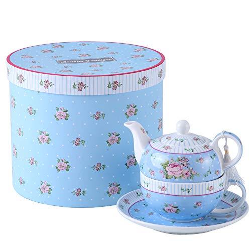 London Boutique Teekannen für eine Tasse Retro-Porzellan-Teekanne, viktorianisches Blumenmuster Geschenkbox (Blau)