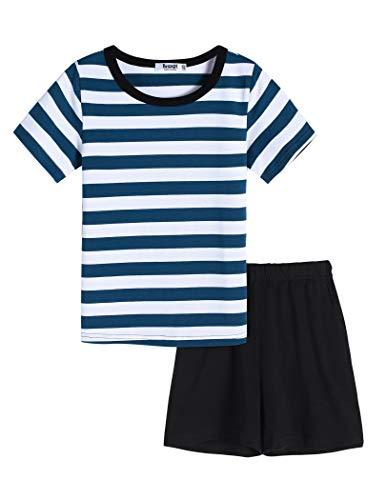 Bricnat Kurzer Schlafanzug Jungen 158 Kinder Pyjama Zweiteilig mit Streifen Kurzarm Nachtwäsche Jungen 164 Sommer Outfit Set Streetwear