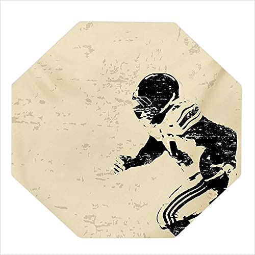 """35"""" Octagon Office Carpet Chair Mat, Rugby Player in Action Running Success in Arena Playground Sport Best Team Picture, Chair mats for Carpeted Floors, Beige Black"""
